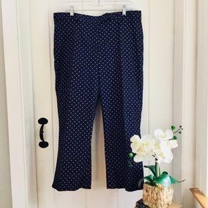 LANDS' END Navy & Pink Polka Dot Cotton Crop Pants